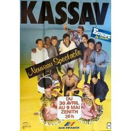 affiche des années 80 ( format 120X160 cm pliée d'origine ) de Kassav au Zénith