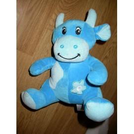 Doudou B�bisol Peluche Vache Kuh Cow Assise Bleu Fleur Etoile