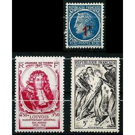 France 1947 - beau petit lot : Yvert 779 790 791 - Louvois, surintendant des postes, Homage à la résistance, Cérès de Mazelin surchargé, neufs