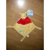 Doudou Peluche Plat Winnie L'ourson Ours Bear Bar Orso Jaune Rouge Fleur Bleu Triangle Disney Baby Nicotoy
