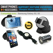Support Voiture Pour Samsung Galaxy S2, S3 + Chargeur Allume Cigare + Cable Usb Samsung Galaxy S2, S3