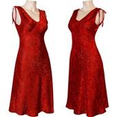 Robe Tunique Soie Tiss�e Broderie Taille 34/36/38/40/42/44/46/48/50/52/54/56 (L4) Rouge