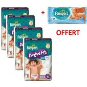 180 Couches Pampers Active Fit Taille 5 (11-25 Kg) + Offert 1 Paquet De Lingettes Pampers
