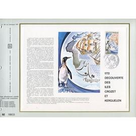 FRANCE FEUILLET ARTISTIQUE CEF N° 188 TIMBRE 1704 / 1772 Découverte des iles crozet et kerguelen paris 29 JANVIER 1972
