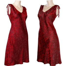 Robe Tunique Soie Tiss�e Broderie Taille 34/36/38/40/42/44/46/48/50/52/54/56 (L8) Rouge