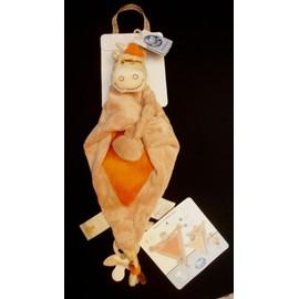 Doudou Noukie's Plat Triangle Zamba Le Z�bre Vache Girafe Marron Beige & Orange Marionnette Attache T�tine / Sucette
