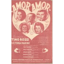 """tino rossi - tony murena - émile carrara - loulou gasté - quintin verdu - jacques metehen : """" amor, amor """" ( couverture fond rouge )"""