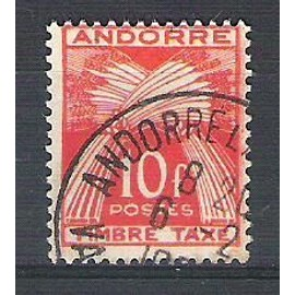 Andorre, 1946-1950, Timbres-Taxe, Type Gerbes (Légende Timbre-Taxe), N°38, Oblitéré.