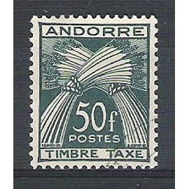 Andorre, 1946-1950, Timbres-Taxe, Type Gerbes (Légende Timbre-Taxe), N°40, Oblitéré.