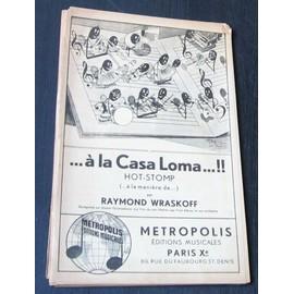 A la casa Loma, hot stomp, partition pour orchestre de jazz de Raymond Wraskoff, 1934