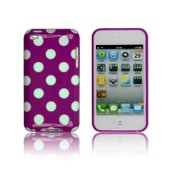 Etui Housse Coque + Film Ipod Touch 4 Gel Silicone Violet Mauve Gros Pois Blanc Dot Polka Point R�tro Vintage Geek Fashion