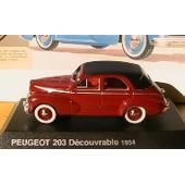 Peugeot 203 Decouvrable 1954 Norev 1/43 Rouge & Noire Hachette