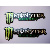 Lot 2 Stickers En Relief Monster Energy Chrome Neufs !