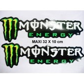 Paire Autocollants Stickers Maxi Monster Energy 32 X 10 Cm