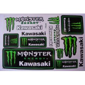 Planche Autocollant Stickers Monster Energy Kawasaki 15 Pieces