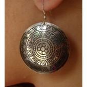 Boucles D'oreille Mandala Danse Orientale Couleur Argent Inde - Udaipur