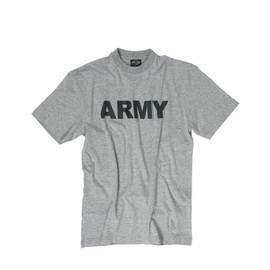 Tee Shirt Gris Chine Col Rond Et Manches Courtes Imprime Army Noire Miltec 11063008 Airsoft Armee Us