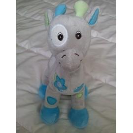 Doudou Peluche Girafe Arthur Et Lola B�bisol Bleu Vert Gris Cercle Rond Fleur Brod� 26 Cm