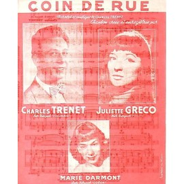 RARE PARTITION FOND ROUGE CHARLES TRENET JULIETTE GRECO MARIE DARMONT COIN DE RUE