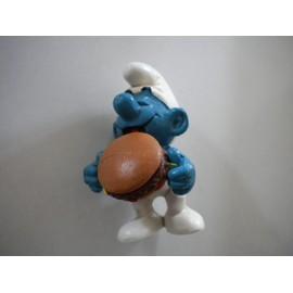 Schtroumpf Hamburger + Emblem Figurine Collection Schtroumpfs Smurf Schtroumpfette