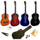 Pack Guitare Classique 4/4 Avec 5 Accessoires 4 Coloris Au Choix