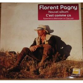 RARE PLV SOUPLE 30X30 CM FLORENT PAGNY ALBUM C'EST COMME CA MAGASINS FNAC