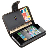 Porte-Monnaie En Cuir Noir Ex�cutif Flip Case Cover Pouch Carte Pour Apple Iphone 4 4s