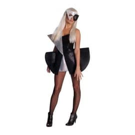 Costume Adulte Lady Gaga Noir/Argent - Taille Standard M
