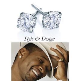 Paire Boucles D'oreilles Diamant Homme Tendance Haute Qualit� Style Argent