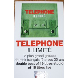 RARE PLV CARTONNEE RIGIDE OFFICIELLE 30X50CM TELEPHONE ILLIMITE JEAN LOUIS AUBERT BERTIGNAC