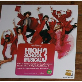 RARE PLV SOUPLE 30X30 CM FILM HIGH SCHOOL MUSICAL 3 WALT DISNEY MAGASINS FNAC
