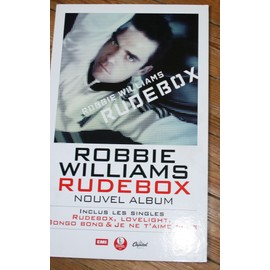 RARE PLV CARTONNEE OFFICIELLE 30X50 CM ROBBIE WILLIAMS ALBUM RUDEBOX