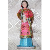Poup�e Chinoise D�corative-Dame Qing Dynastie -Rose