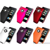 Pack D'accssoires Lot De 6 Housse Coque Etui Noir Blanc Rose Rouge Orange Violet Rigide Arriere Avec Ligne Chrome Crome Silver Line Pour Iphone 3/3gs + Films De Protection