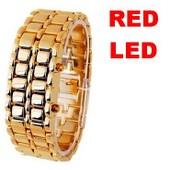 Montre Bracelet / Gourmette Homme - Design Gold Samoura� - � Led Rouge - Bracelet Acier Dor�