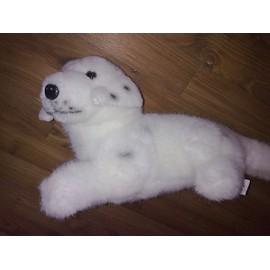 Occasion, doudou peluche dalmatien chiot allongé carrefour 32 cm blanc.