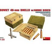 Caisses De Munitions Avec Obus Et Douilles De 45 Mm Sovi�tiques