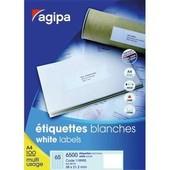 Agipa Etiquettes Coins Droits - �tiquettes Adh�sives Permanentes - Blanc - 105 X 37 Mm 1600 �tiquette(S) ( 100 Feuille(S) X 16 )