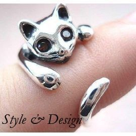 Bague Chat Argent Vintage Tendance Taille R�glable Cat Ring Retro