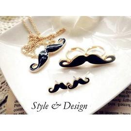 Parure Moustache Tendance Collier + Bague + Boucles D'oreilles Noire Dor�e Haute Qualit� Vintage Retro