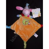 Doudou Plat Ane Bourriquet Orange Vert Bleu Rose 3 Noeuds Disney