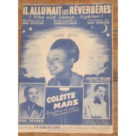 PARTITION COLETTE MARS JACQUES HELIAN HENRI DECKER  / IL ALLUMAIT DES REVERBERES