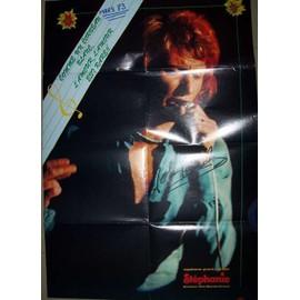 Poster johnny hallyday comme un corbeau blanc 1973 magazine stéphanie affiche 82x57cm