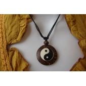 Collier Pendentif Yin Yang En Cuir M�daillon En Bois De Cocotier