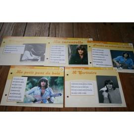 lot de 5 fiches chanson atlas yves duteil : prendre un enfant , virages , la tarentelle , l'écritoire et le petit pont de bois
