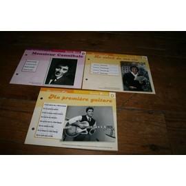 lot de 3 fiches chanson atlas sacha distel : le soleil de ma vie ( brigitte bardot ) monsieur cannibale et ma première guitare
