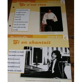 lot de 2 fiches chanson atlas julien clerc : ce n'est rien et si on chantait