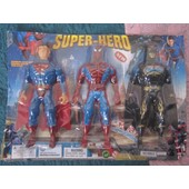Rare Lot 3 Figurines Batman Superman Spiderman Sous Blister