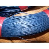5 M�tres De Fil Coton Cir� De Diam�tre 1mm - Bleu Fonc�