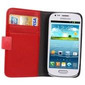 Etui Galaxy S3 Mini � Rabat Rouge Peau De Litchi Avec Support Et Emplacement Cb Samsung Galaxy S3 Mini